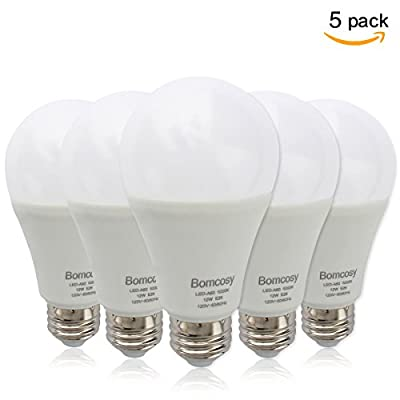 (5 Pack)Bomcosy 12W LED Bulbs A19 E26,100W Incandescent Bulb Equivalent,Not Dimmable,1050 Luminous,6000K Daylight