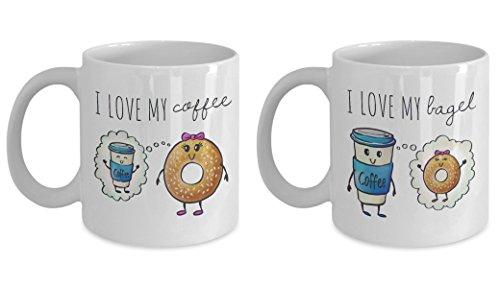 Couple Mugs, Coffee Meets Bagel Mug, Online Dating, Couple's Anniversary Mug, Valentines Day Mug, Couples Coffee Mugs, Couples Gift Set