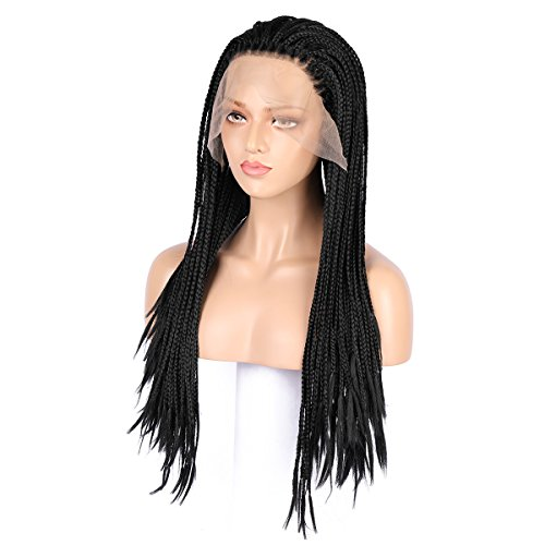 Necklace Braid White - 24 Inch Long Lace Front Micro Million African Braided Wigs for Women and Girls (Black), with One Mother of Pearl necklace and One Wig Cap