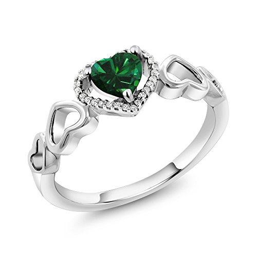 (Gem Stone King 10K White Gold 0.55 Ct Heart Shape Green Simulated Emerald Diamond Accent Engagement Ring (Size)