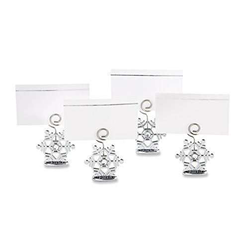 Kate Aspen Sparkling Snowflake Place Card Holders (Set of 6), Silver (Place Card Holders Christmas)