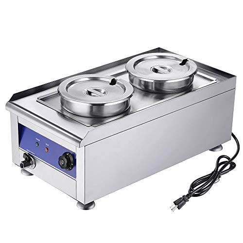 Yescom 1200W Commercial Food Warmer with Dual 7L Pots Stainless Steel Countertop Steam Table Soup Restaurant - Soup Warmer Quart 7