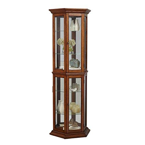 "Pulaski Angled Oak Curio Cabinet, 24"" x 11"" x 70"""