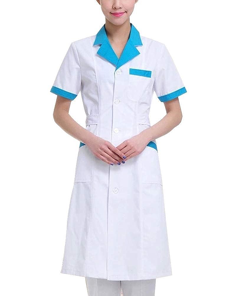 ShiFanA Blouse De Laboratoire Femme Manche Courte M/édical avec Poche Et Bouton pour Hospital Infirmi/ère
