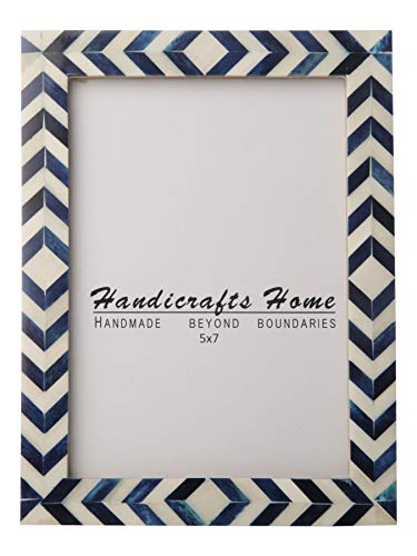 Handicrafts Home Blue White Chevron Picture Frames - Mosaic Moroccan Pattern Bone Inlay Handmade - Premium Quality Pine MDF Wood Back with 2mm Ultra Transparent Acrylic Plexiglass - Hang or Sit 5x7 ()