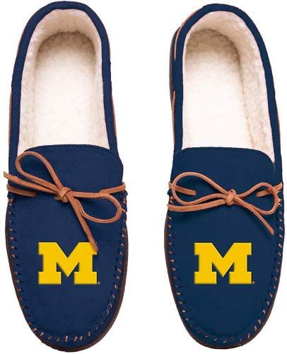 FOCO NCAA Michigan Wolverines Mens Team Color Big Logo Moccasin SlippersTeam Color Big Logo Moccasin Slippers, Team Color, Large / ()