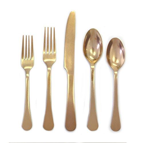 (Cambridge Silversmiths 20 Piece Indira Katni Flatware Set, Rumbled Brass, Service for)