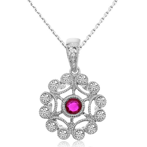0.19 Carat (ctw) 14k White Gold Round Red Ruby and Diamond Women's Circle Filigree Pendant with 18