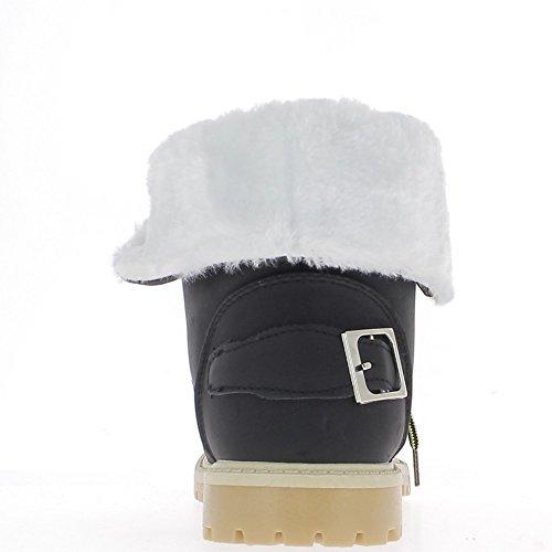 Negro botas en talón trasero 2.5 cm llenada