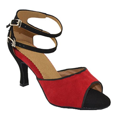 TDA Womens Classic Peep Toe Buckle Stiletto High Heel Suede Latin Ballroom Modern Dance Shoes Red VKRJ0sJM