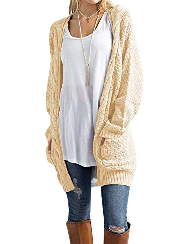 Traleubie Women's Open Front Long Sleeve Boho Boyfriend Knit Chunky Cardigan Sweater Champagne M