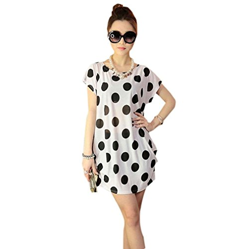 Franterd Women Mini Dress Short Sleeves Loose Blouse Print T Shirt skirts (White )