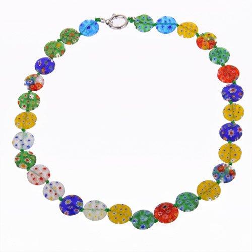 Ecloud ShopUS Millefiori Lampwork Glass Coin Beads Necklace - Lampwork Glass Coin Beads