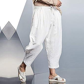 Pantaloni Uomo alla Moda in Lino Stile Casual Sciolti e Traspiranti Pantaloni Sportivi Estivi Pantaloni Stile Allentato Casual Traspirante Estate allaperto Solido Pantaloni da Spiaggia da Uomo