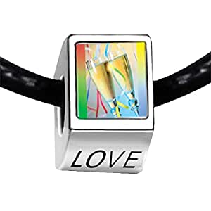 Chicforest Silver Plated Champagne Party Photo LOVE Charm Beads Fit Pandora Chamilia Biagi Charm Bracelet