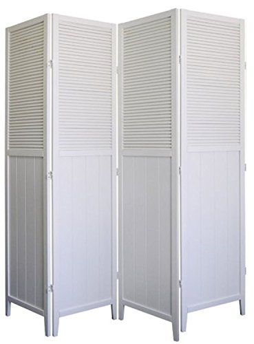 4 Panel Wood Room Divider - White