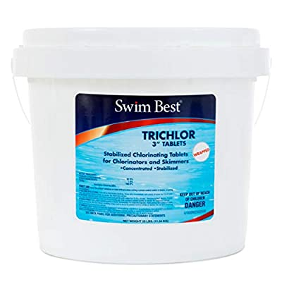 "Swim Best 25 lbs Bucket 3"" Swimming Pool Chlorine Tablets, Stabilized"