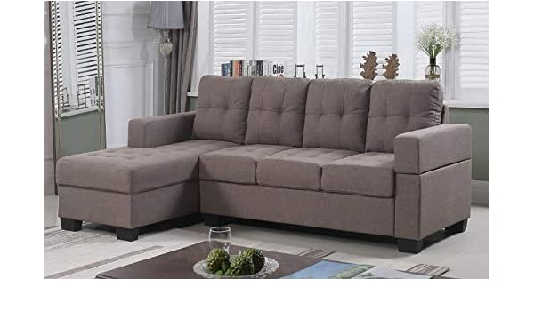 Brown//Grey 9thSound Furniture Linen SECTIONAL with Chaise