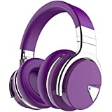 COWIN E7 Active Noise Cancelling Bluetooth Headphones with Microphone Deep Bass Wireless Headphones Over Ear, Comfortable Protein Earpads, 30H Playtime for Travel/Work/TV/Computer/Phone - Purple