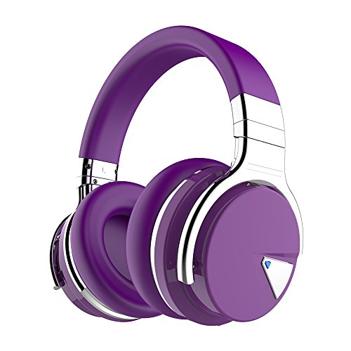COWIN E7 Active Noise Cancelling Bluetooth Headphones with Microphone Deep Bass Wireless Headphones Over Ear, Comfortable Protein Earpads, 30H Playtime for Travel Work TV Computer Phone - Purple by cowin