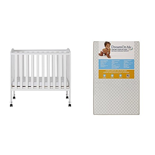 Dream On Me 2 in 1 Portable Folding Stationary Side Crib with Dream On Me 3 Portable Crib Mattress, White by Dream On Me