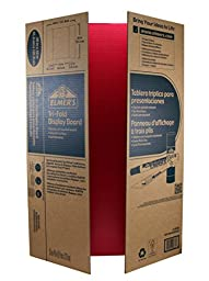 Elmer\'s Corrugated Tri-Fold Display Boards, 36 x 48 Inches, 1-Ply, Red Inside/Kraft Outside, 6-Count (J730302)