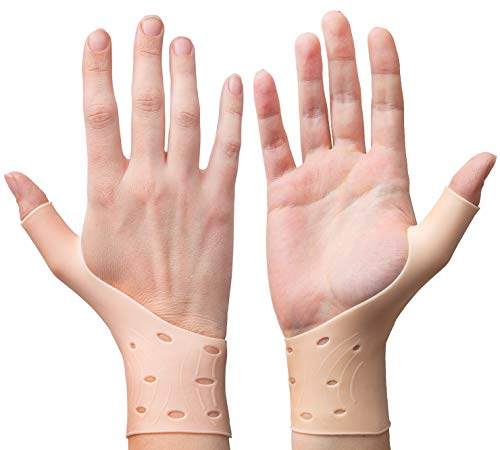 EXCELYFE Breathable Gel Wrist & Thumb Support Braces for Right & Left Hand | Relieves Pain for Arthritis, Rheumatism, Carpal Tunnel Great for Texting (2 Piece Nude)