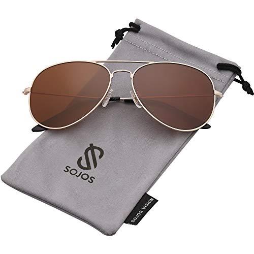 SOJOS Classic Aviator Polarized Sunglasses Mirrored UV400 Lens SJ1054 with Gold Frame/Brown Polarized Lens