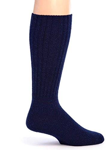 Warrior Alpaca Socks - Women's Ribbed Casual Everyday Alpaca Wool Crew Socks (Navy M)