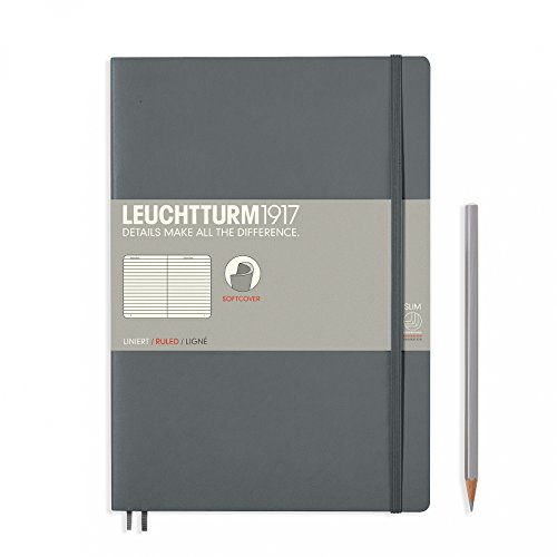 "Leuchtturm 1917 Soft Cover Composition B5 Notebook 7"" x 10"", Anthracite Gray, Ruled / Lined"