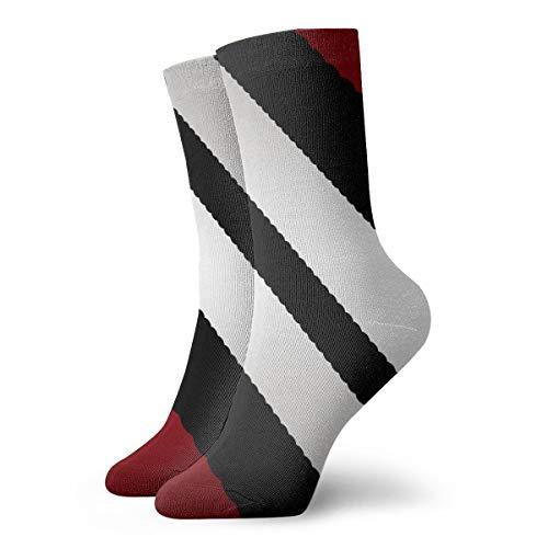 (YIEOFH Red Black Gray Diagonal Stripes Novelty Boys Girls Fashion Cute Funny Casual Art Crew Socks)
