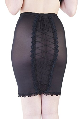 1950s Lingerie - Playful Promises Bettie Page Women's Retro 1950's Sexy Lingerie Shaping Slip Skirt (Large) Black