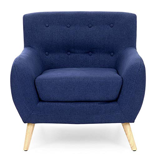 StarSun Depot Dark Blue Linen Upholstered Tufted Armchair with Modern Mid-Century Style Wood Legs