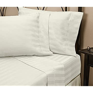 HC COLLECTION 4-Piece 1800 Series Platinum Collection Microfiber Striped Queen Bed Sheet Set, White
