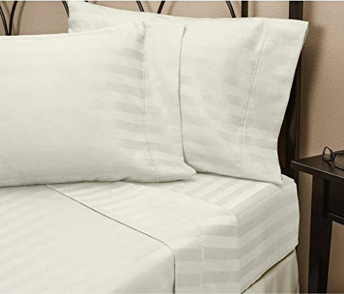 Hotel Luxury STRIPED Bed Sheets Set-SALE TODAY ONLY! #1 Rated On Amazon-Top Quality Bedding 1800 Series Platinum Collection-100% Money Guarantee!Deep Pocket, Wrinkle & Fade Resistant(Cal King,White)