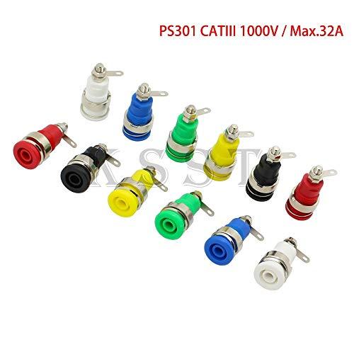 Davitu Connectors - PS301 Safety 4mm panel socket solder type CATIII 1KV/32A 4mm Insulated Chassis Socket 4mm Banana Socket - (Color: 24pcs Green) ()