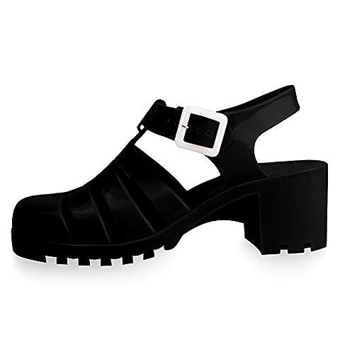 Hot Cute Black Plastic Jellies Slip On Round Toe Low Block Rubber Platform Chunky Heel Slingback Buckle Wedge Doc Martin Designer Rain Sandal Shoe for Sale Women Teen Girl (Size 9, - Slingback Platform Heels
