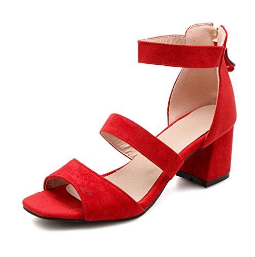Knöchelriemchen Damen Spangen Rot Offene Blockabsatz Sandale mit Schnalle Aisun Zehen qO4wxp