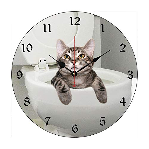 Tabby Cat in Toilet Wall Clock Battery Operated Art Silent Non-Ticking Small Wood Clock 12 Inches