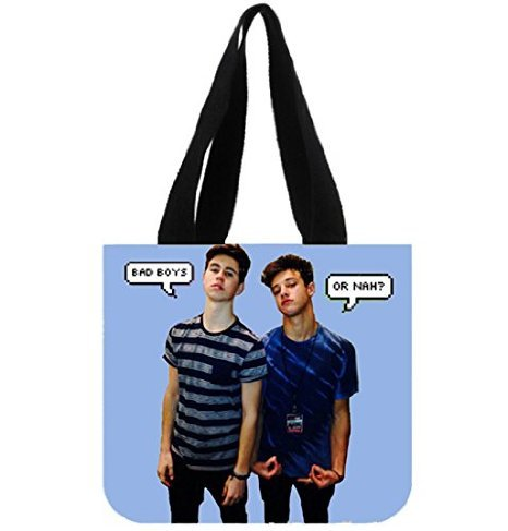 Angelinana Fashion Nash Grier and Cameron Dallas Printed Canvas Girl And Women Shopping Bag Two Side Tote Bag