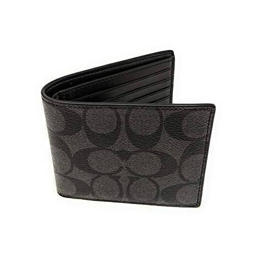 Coach Mens F75083 Double Billfold Signature Wallet Charcoal/ Black