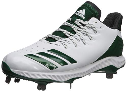 adidas Men's Icon Bounce, White/Dark Green/Carbon 8.5 M US (Green Perforated Metal)