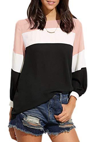 Confortable Elgante Manches Loisir Chemise Printemps Femme Branch Couleurs Mode Mlanges Rayures Bouffant Pullover Style Tops Longues Haut Spcial Col Pink Rond Bqww5S1C