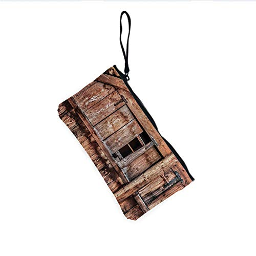 Canvas Coin Purse Zipper Coin Holder Mini Wallet Bags Cosmetic Makeup Bags,Barn Door with Iron Hinges and Lateral Cracks