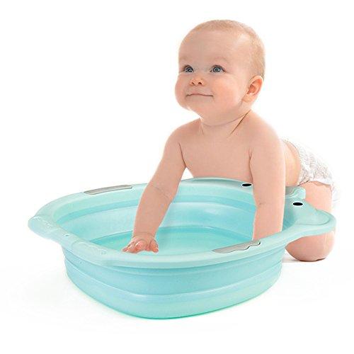 Whthteey Cute Cartoon Portable Baby Washbasin Collapsible Wash Basin Tub (Blue) by Whthteey