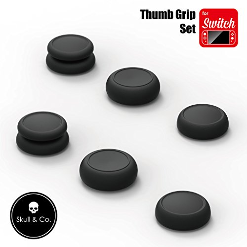 Skull & Co. Skin, CQC and FPS Thumb Grips Set Joystick Cap Analog Stick Cap for Nintendo Switch Joy-Con Controller - Black, 3 Pairs(6pcs) ()