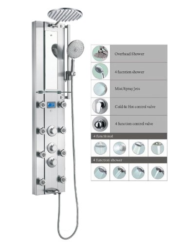 Beau Blue Ocean 52u201d Stainless Steel SPV962332 Thermostatic Shower Panel With  Rainfall Shower Head, 8