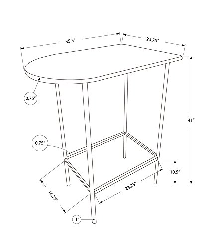 Monarch Specialties Metal Space Saver Bar Table, 24 by 36-Inch, Cappuccino/Black