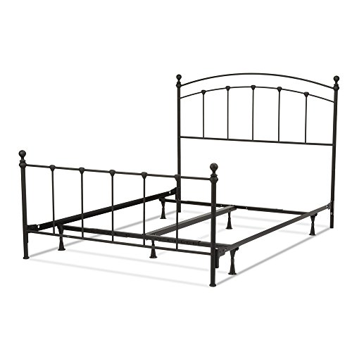 (Leggett & Platt Sanford Complete Metal Bed and Steel Support Frame with Castings and Round Finial Posts, Matte Black Finish, Queen)