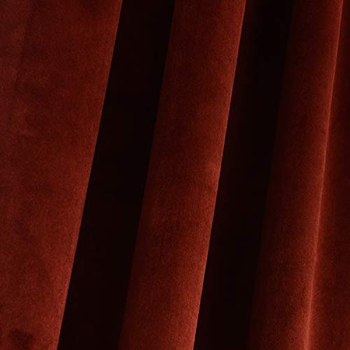 "Roslynwood Room Darkening Velvet Curtains 63 inch Long Rod Pocket Drapes for Bedroom Thermal Insulated Moderate Blackout Window Curtain for Girls Room Red 52""x63"" Inch (2 Panels) Rod Pocket"